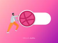 Hello, Dribbble gradient illustration design humaaans debutshot debut