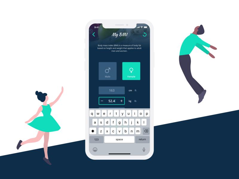 BMI Calculator #DailyUI fitness app bmi calculator iphone x mobile ui dailyui