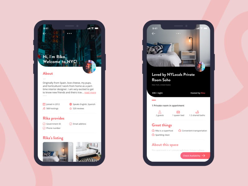 Host Profile #DailyUI redesign airbnb host profile page profile mobile ui iphone x dailyui