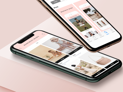 Interaction Design -- Bohemian Mama app design app fashion brand branding design digital visual identity modern branding design graphic design interaction design