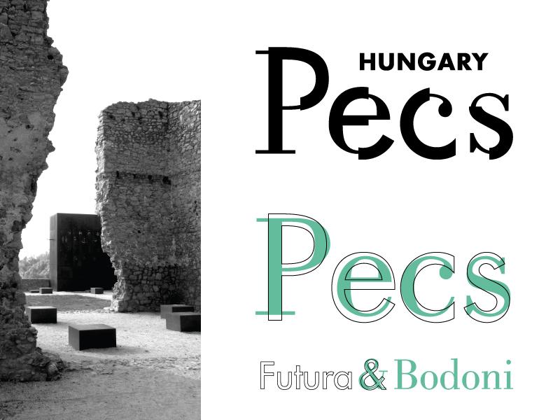 Pecs Brand - Futura + Bodoni bodoni futura font mashup hungary pecs