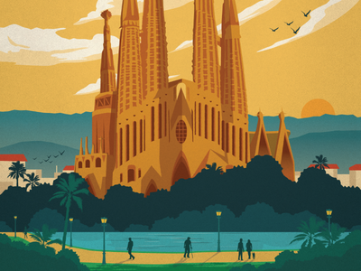 Vintage Barcelona Shot illustration poster art spain barcelona sagrada familia espana