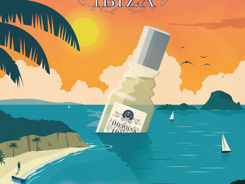 Hierbas de Ibiza illustration design poster vintage ad perfume spain ibiza sailboat palm trees landscape