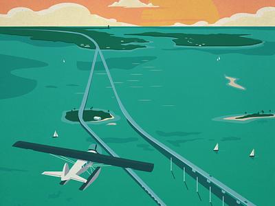 Vintage Key West Poster illustration design poster vector keys key west sea plane islands sail boats sunset