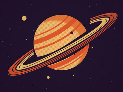 Saturn rings halftones moons saturn stars planet space design illustration
