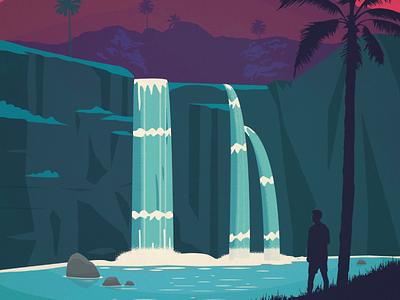 Kauai Poster palm tree hawaiian islands nature waterfall kauai hawaii poster design illustration