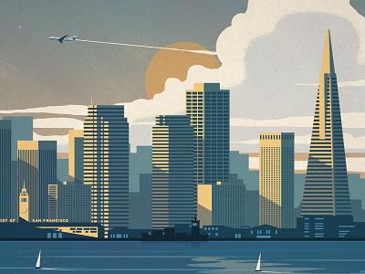 San Francisco Poster geometry vector cityscape california san francisco sf poster design illustration