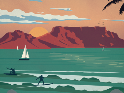 Cape Town Poster clouds sailboats landscape beach surf surfers table mountain south africa cape town poster design illustration