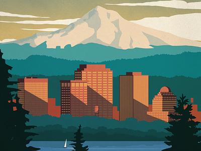 Portland Travel Poster river downtown city mount hood nature landscape oregan portland poster design illustration