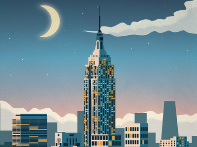 New York City Poster empire state building skyline moon manhattan new york city nyc poster design illustration