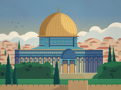 Jerusalem Poster fun travel landmark dome of the rock jerusalem poster design illustration