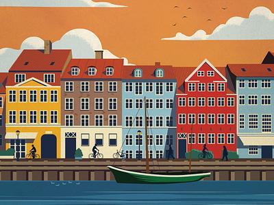 Copenhagen Poster travel skyline sail boats harbor scandinavia denmark copenhagen poster design illustration