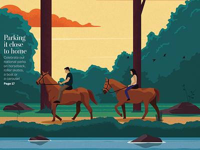 Washington Post Weekend Cover lake nature horses weekend washington post editorial design illustration