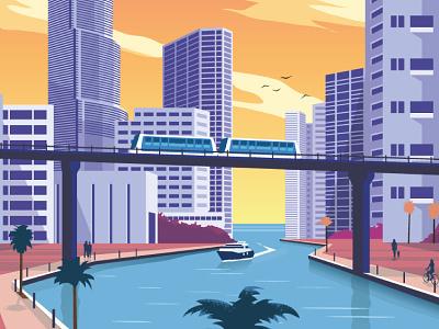 Airbnb Miami Travel Poster skyline airbnb miami poster design illustration