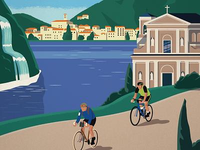 La Valentiniana landscape italy biking poster design illustration