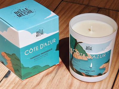 La Belle Mèche Candle Packaging packaging cote dazure design illustration