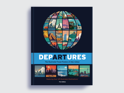 Departures ArtBook graphic design globe destinations landmarks travel posters vector art illustration book