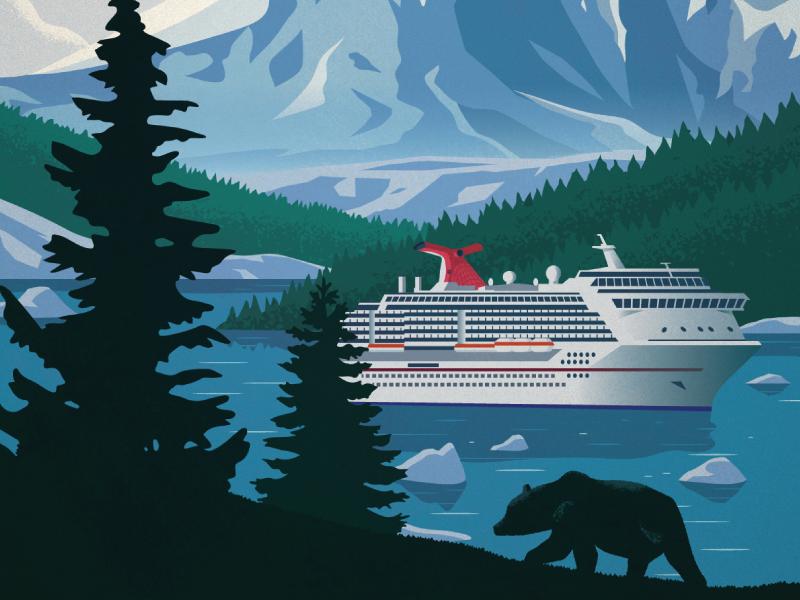 Carnival Cruise Lines Poster carnival cruise lines ship mountain nature bear alaska cruise alaska cruise illustration