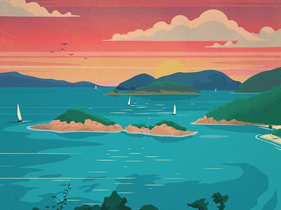 Virgin Islands Poster Series Pt 1 landscape travel vector art design poster illustration