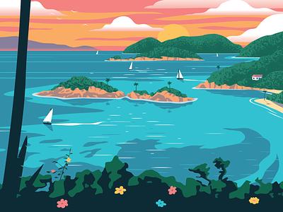 Virgin Islands National Park Poster national park virgin islands landscape travel vector art design poster illustration