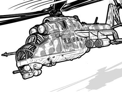 MI-24 Helicopter Illustration