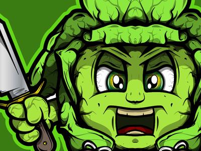 Cabbage Samurai Ninja AntiVegan illustration