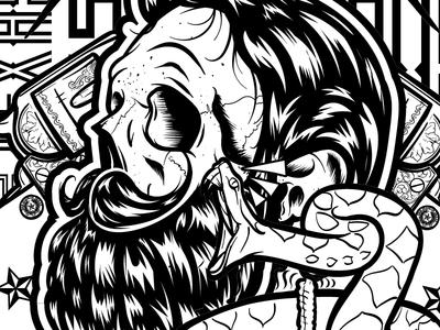 Southern Shine Beard Branding illustration Project