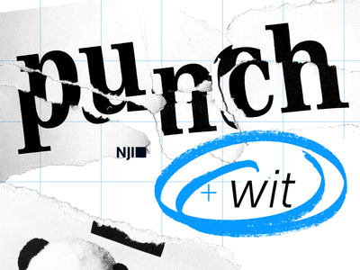 Punch + Wit desktop wallpaper bitmap panda photographer photography collage grid witty punchy blue halftone texture photoshop typography illustration vector design