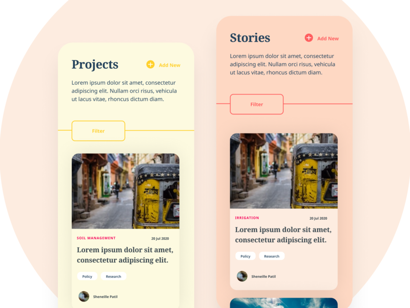 Projects and Stories mobile ui webdesign content content design