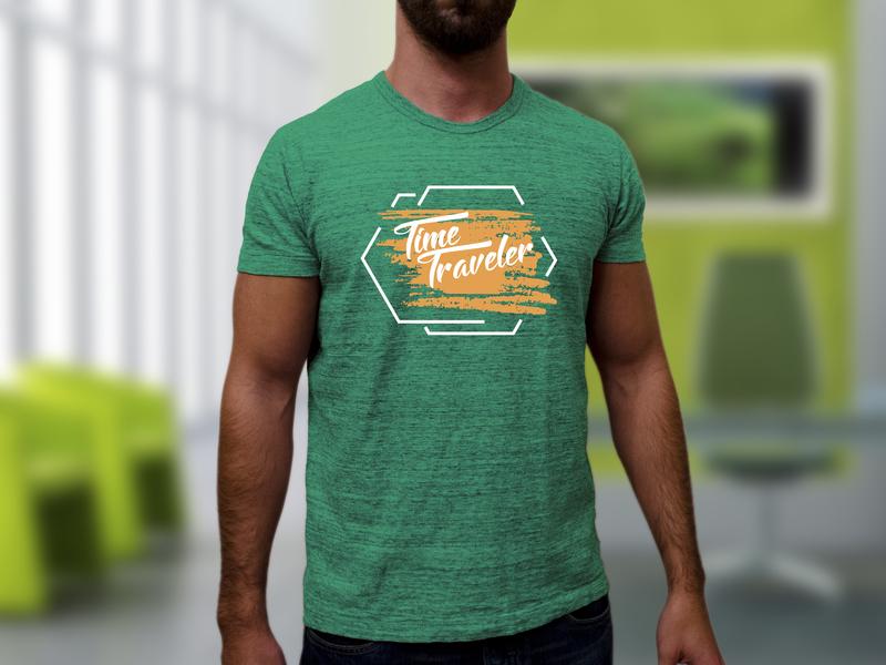 Time Traveler_Green creative  design print on demand print design tshirt design illustration