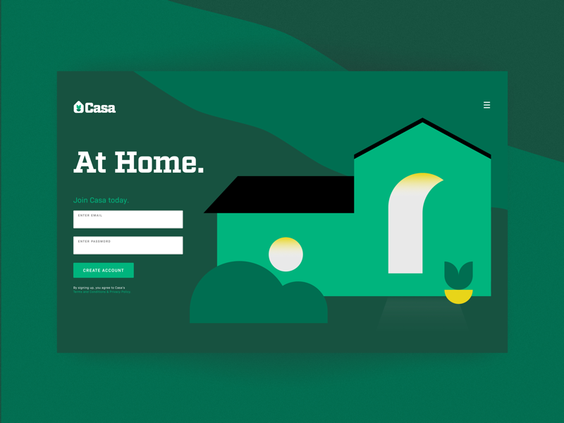 Daily UI 001 - Sign Up daily casa real estate minimal clean illustration landing page sign up digital design user interface ui design ux ui graphic design web design daily ui