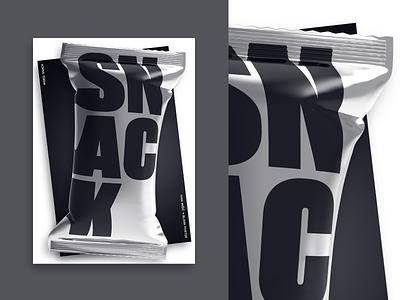 Snack plakat snack blackandwhite ivanmisic 3d cover typography design artwork illustration poster