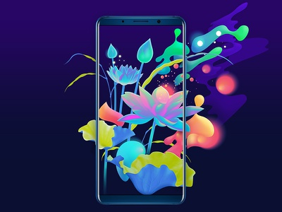 Artwork for the new HUAWEI Mate 10 vibrant artwork colorful neon floral illustration