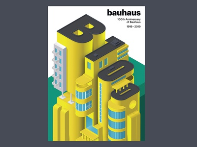 Bauhaus 100 anniversary 3d isometry bauhaus vector colorful artwork design poster typography illustration