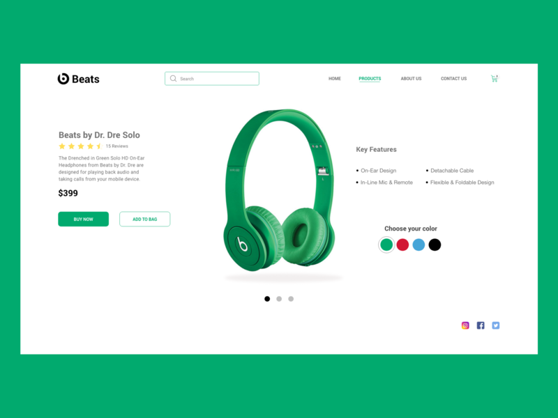 Beats Product Page landing page ios design application design clean logo clean ui graphics web app branding application icon designs ux ui