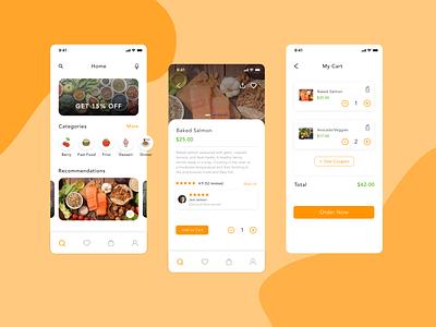 Healthy Food App web order app food app clean ui ios design app branding application icon logo designs ux ui