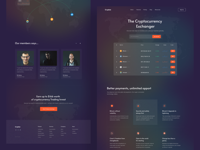 Cryptocurrency Landingpage website blockchain simple ui ux clean minimal ethereum crypto currency coins bitcoin financial trendy design webdesign website design landingpage crypto cryptocurrency wallet cryptocurrency exchange