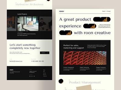 Roon: Creative Studio agency business studio creative company web design creative studio minimal popular design ui ux website trendy design