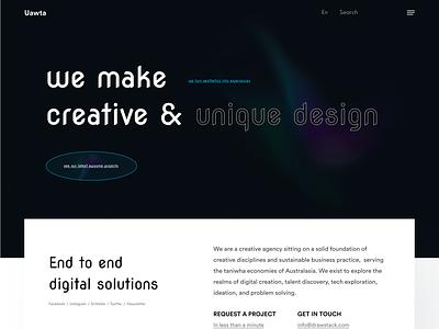 Uawta - Digital Agency Landing Page studio landingpage clean design webdesign popular design trendy design website minimal digitalagency creative agency