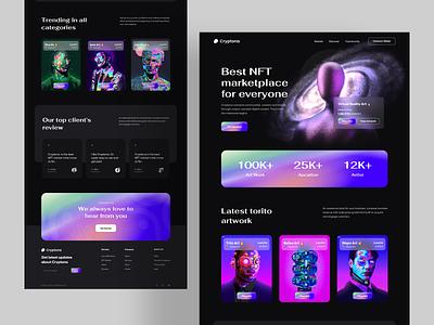 Cryptona: NFT Landing Page landingpage ux ui crypto platfrom modern dark nft art token nftmarketplace nft web design website