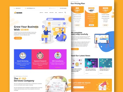 SEO & marketing agency home page design concept about logo website flat icon ux ui design photoshop simple cta subscribe form price blog marketing agency user inteface user experience ux morden clean seo
