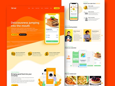 GoFood food delivery multipurpose app landing page