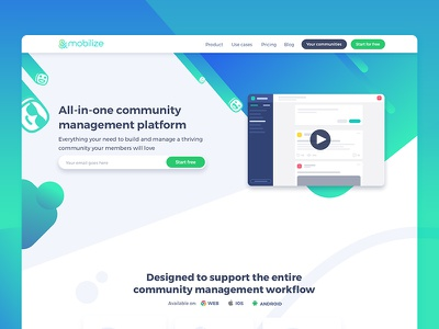 Mobilizing landing page onepager community ui landing page