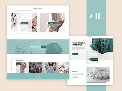 WOOL logo design minimal web e-shop clean website landing homepage ui concept ux e-commerce