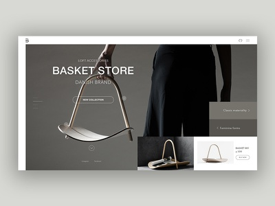 Basket grey design web minimal clean website landing homepage e-commerce ux ui concept