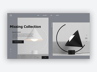 Lamp grey design web minimal clean website landing homepage e-commerce ux ui