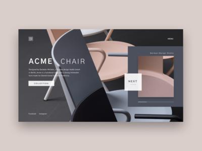 Acme Chair interior typography grid logo grey design website web minimal landing homepage e-commerce concept clean ux ui