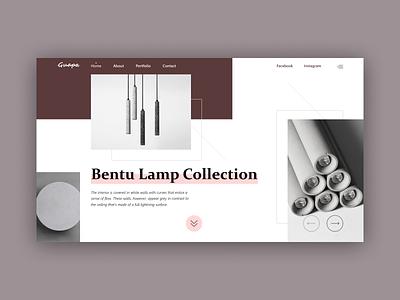 Bentu typography grid logo grey design website web minimal landing homepage e-commerce concept clean ux ui