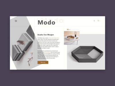Modo minimal design concept website ui ux landing homepage e-commerce clean