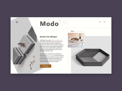 Modo minimal design concept website ui ux landing homepage e-commerce clean